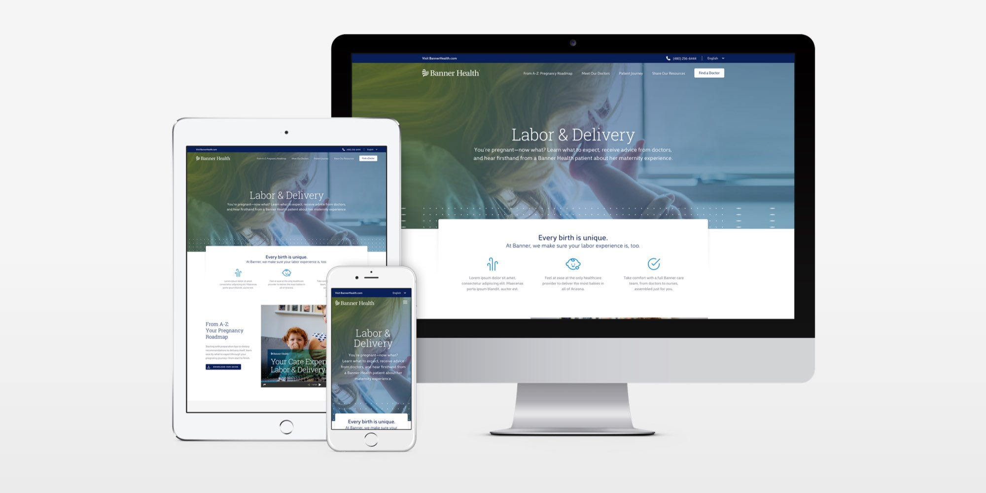 Banner Health Landing Pages show on device